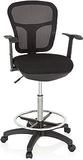hjh OFFICE 760008 Silla de Trabajo Top Work 108 Tejido de Malla Negro Silla de Oficina Alta ergonómica