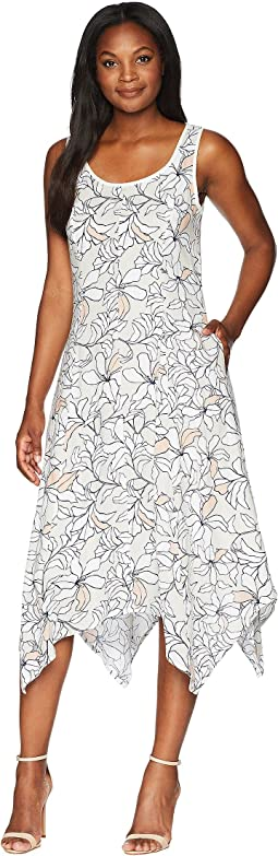 Sleeveless Printed Linen Handkerchief Hem Dress