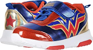 Wonder Woman Girl's Athletic Shoes with Premium Lights (Toddler/Little Kid) Blue