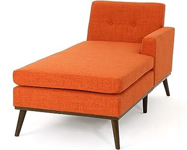 Christopher Knight Home Stormi Mid-Century Modern Fabric Chaise Lounge, Muted Orange / Walnut