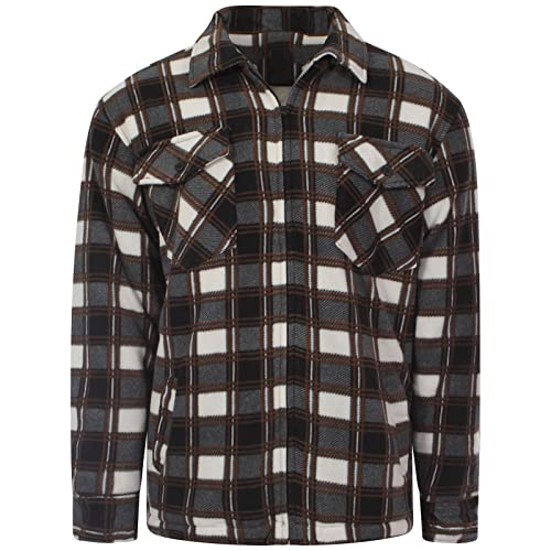 35ae84aa35 MyShoeStore Unisex Padded Shirts Lumberjack Collared Hooded Flannel Check  Jacket Thick Quilted Work Wear Warm Thermal