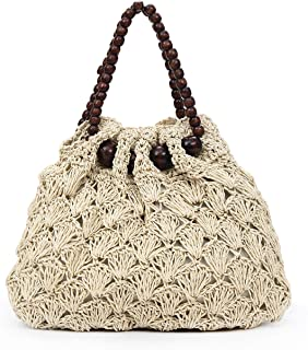 New 2019 Simple Fashion Bag Women's Crochet Handbag Small Fresh Straw Bag Exquisite Clutch Purse(fenmei),White