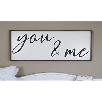 Amazon Com Flowershave357 You And Me Sign Master Bedroom Wall Decor Gift For Her Bedroom Sign Farmhouse Bedroom Sign Framed Wood Signs Over The Bed Sign Love Everything Else