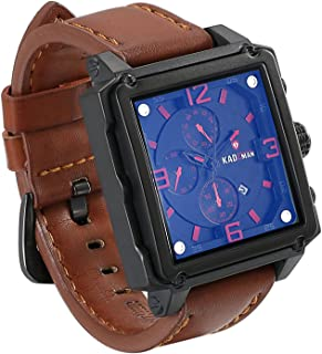 JewelryWe Men's Big Square Blue Dial Watches Auto Date Waterproof Japan Movement Wristwatch for Man