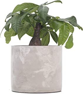 Ekirlin Cement Planter, Modern Round Indoor Concrete Flower Planter,Cement Pots Geometric Pot for Outdoor Indoor, Succulent & Cactus Container with Plastic Tray Cylindrical Cement Pot for Labor Day