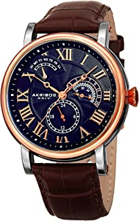 AK1003 Men's Quartz Multifunction Guilloche Pattern Rose-Tone/Blue & Brown Leather Strap Watch -