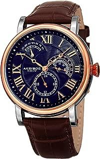 Akribos XXIV AK1003 Men's Quartz Multifunction Guilloche Pattern Rose-Tone/Blue & Brown Leather Strap Watch -