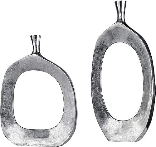 lowest Uttermost Cierra online sale outlet sale Textured Nickel 2-Piece Modern Vase Set outlet online sale