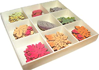 Mini Wood Crate with Wooden Fall Mini Leaves, 45 pcs, Crafts, Jars, Frames, Table Scatters, Baskets,