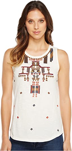 Lucky Brand Gold Embroidered Tank Top