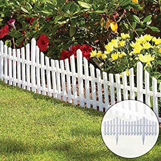 St@llion White Strong Durable Plastic Picket Fence Interlocking Panels for Flowerbeds, Pathways and Lawn Edgings(Pack of 5)