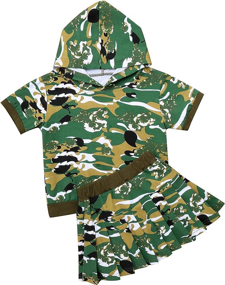 Mädchen T-Shirt Kurzarm/Langarm/Ärmellos Shirts Tops und Minirock A-Linie Rock Modisch Bekleidungsset Kinder Freizeit Outfits