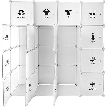 Ribelli Armoire Penderie Portable Meuble Étagère Enfichable 16 Cubes de Rangement