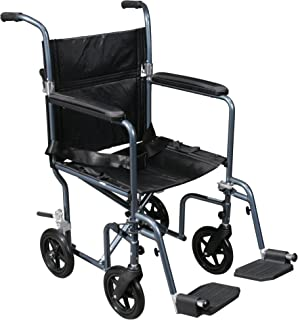 Drive Medical Flyweight Lightweight Transport Wheelchair with Removable Wheels, Blue, 19
