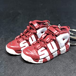 Pair Air More Supreme Uptempo Red Suptempo OG Sneakers Shoes 3D Keychain 1:6 Figure