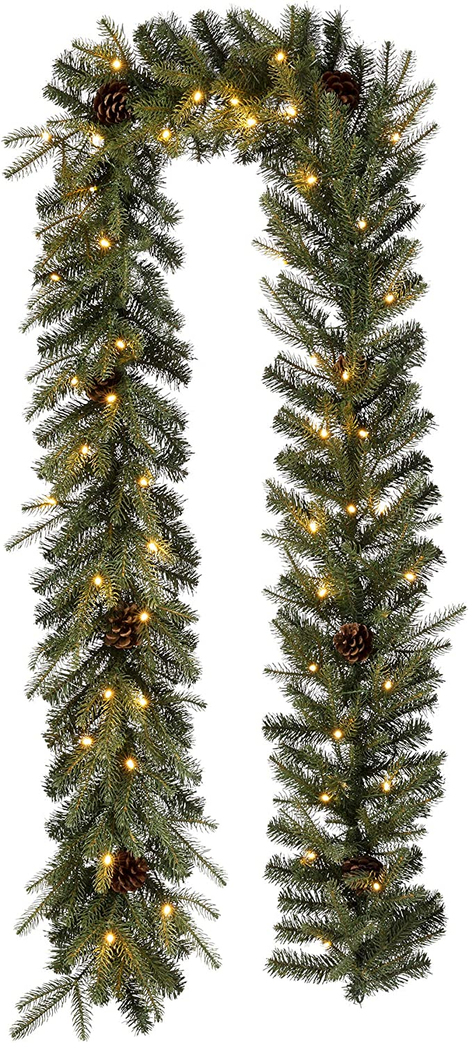 Glitzhome Pre-lit Christmas Purchase Garland with Greene Bargain sale LED Lights 9ft