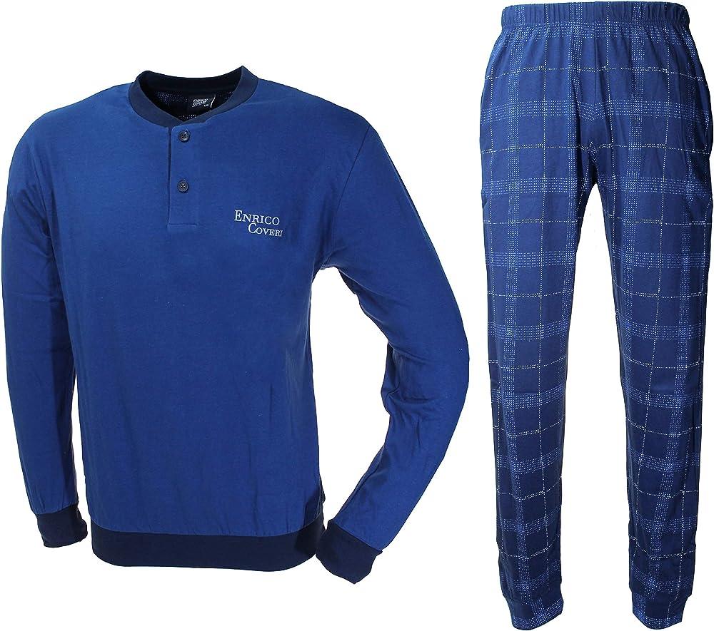 Enrico coveri, pigiama, tuta per uomo,in cotone jersey EP8131