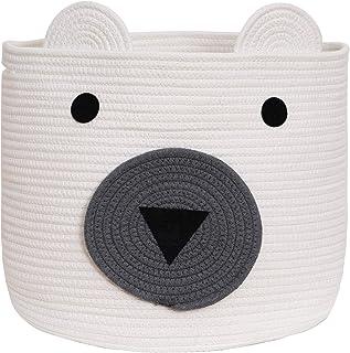 VK Living Cotton Rope Bear Animal Basket Foldable Large Woven Storage Basket Baby Nursery Cute Laundry Hamper for Toys,Bla...
