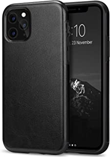 TENDLIN Compatible with iPhone 11 Pro Case Premium Leather TPU Hybrid Case (Black)