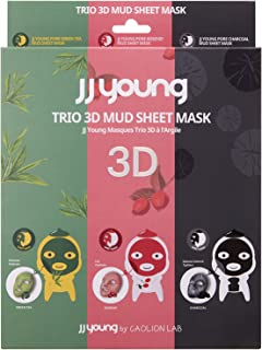JJ YOUNG Trio 3D Mud Sheet Mask - 6 Masks - Removes Sebum and Impurities, Increases skin elasticity, and Moisturizes The Skin - 3.78 oz.