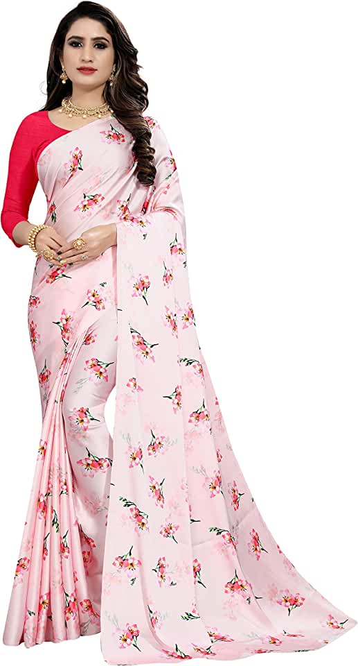 Indian OM FASHION Women's Floral Printed Japan Satin Silk Saree With Unstiched plain Blouse Piece Saree