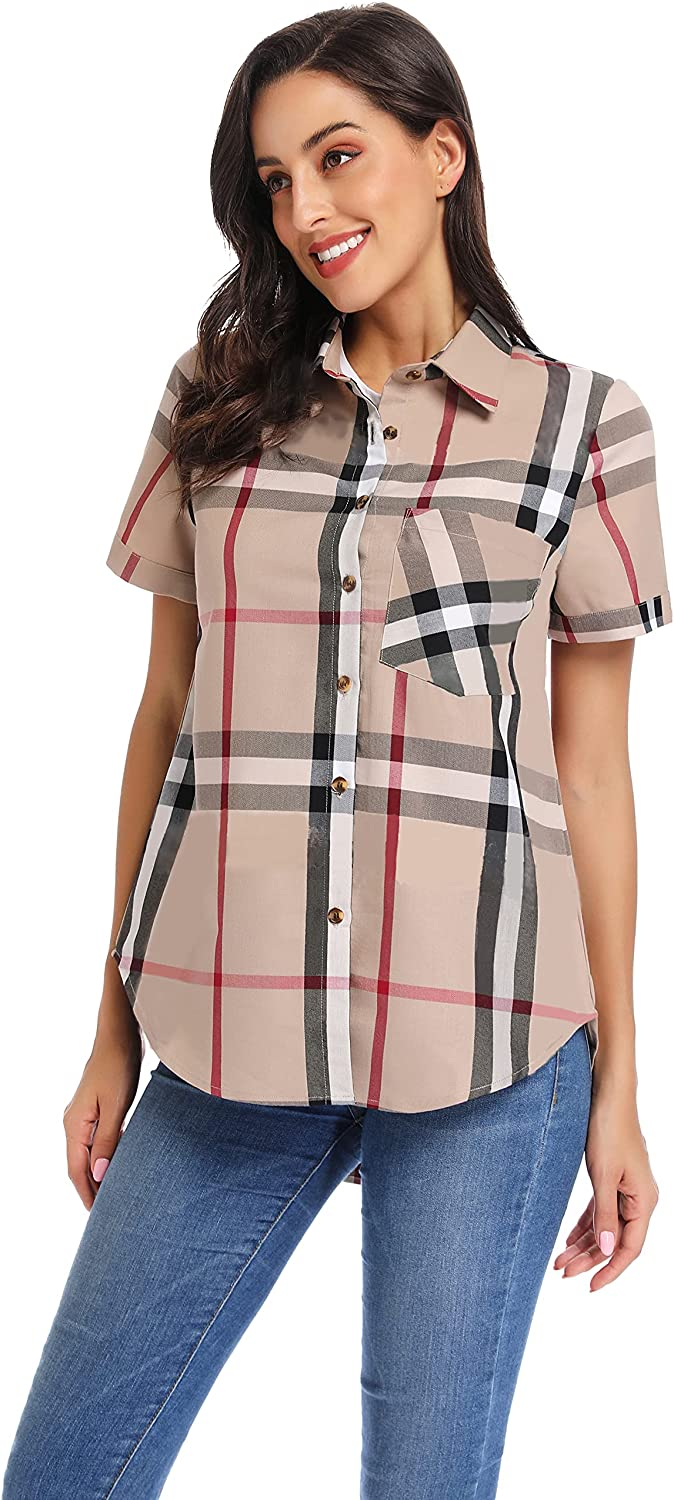 Women's Plaid Button Down Shirts Loose with PocketRoll-up Sleeve Blouses
