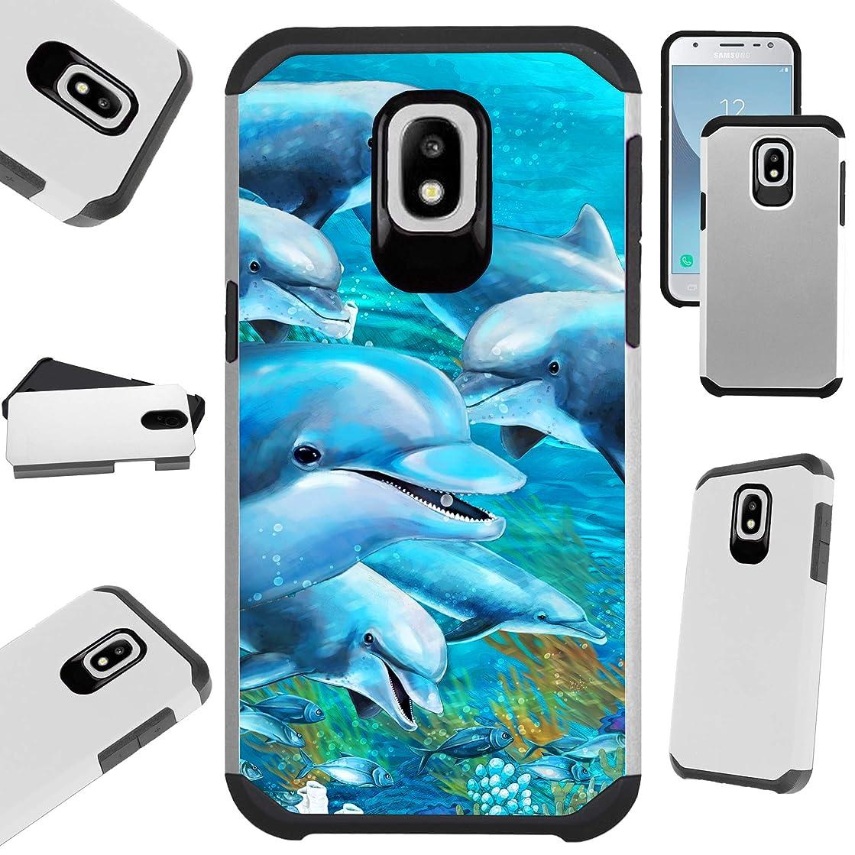 for Samsung Galaxy J7 V J737 (2018) | J7 Crown | J7 Aero | J7 Refine | J7 Aura | J7 Top | J7 Star | J7 Eon Case Hybrid TPU Fusion Phone Cover (Ocean Dolphin)