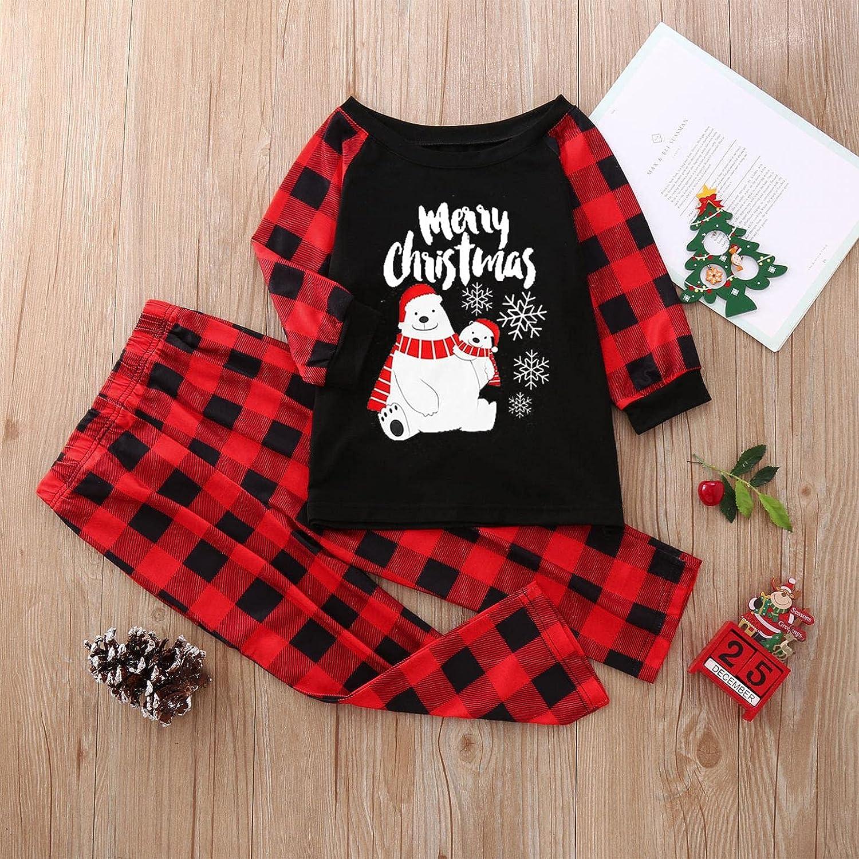 Christmas Pajamas for Family Long Sleeve Christmas Print Crew Neck Jumpsuit Winter Christmas Family Shirt and Pants Sets
