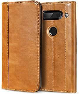 ProCase Genuine Leather Case for LG V40, Vintage Wallet Folding Flip Case with Kickstand Card Holder Protective Cover for LG V40 ThinQ -Brown