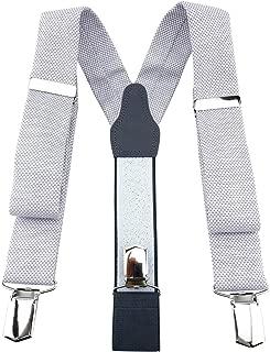 Uomini REGOLABILE Plain Wide Pantaloni Bretelle