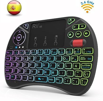 Rii X8 (Nueva versión 2018) - Mini teclado inalámbrico retroiluminado con pantalla táctil 2.4GHz y Rueda de Scroll, dispone de 8 cambios de color