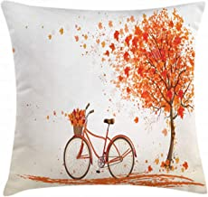Ambesonne Bicycle Throw Pillow Cushion Cover, Autumn Tree with Aged Old Bike and Fall Tree November Day Fall Season Park Nature Theme, Decorative Square Accent Pillow Case, 26 X 26, Orange