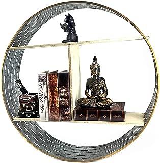 Bellaa 23899 3 Tier Floating Shelf Modern Circle Frame Metal Wood 24 Inch