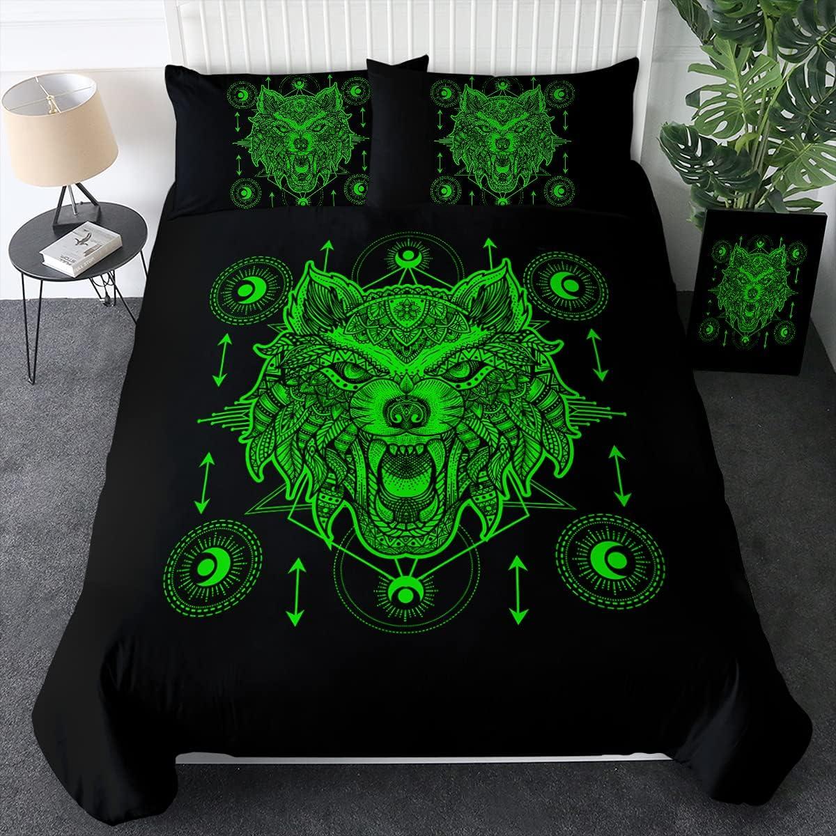 Sleepwish Wolf Bedding Green Max 56% OFF Mandala Full Sets Duvet Cover Popular standard Size