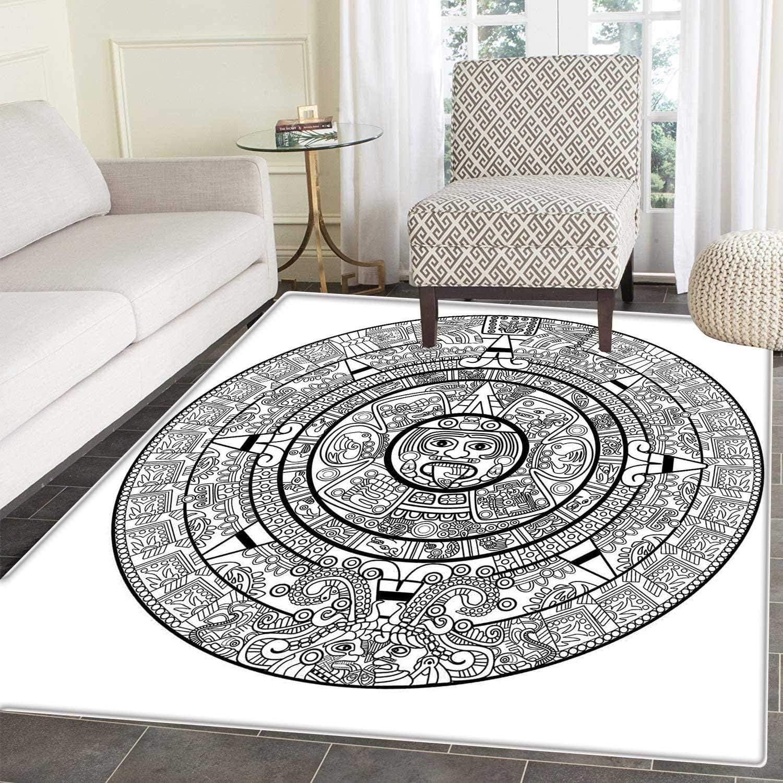 Mesoamerican Decor Area Rug Carpet Illustration Accurate Antiquities Astrological Aztec Geometric Indigenous Floor Mat Rug Indoor Front Door Kitchen and Living Room Bedroom Mats Rubber Carpe Non Slip
