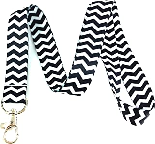 Noir Chevron Lanyard Porte-clés badge d'identification support