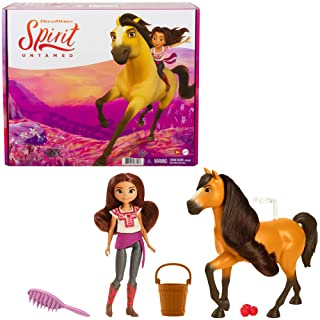 Mattel Spirit Untamed Lucky Doll (Approx. 7-in) & Spirit Horse (Approx. 8-in), with Long Mane, Trough, Hay, Brush, Apple T...