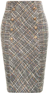 Sponsored Ad - Belle Poque Women's Tweed Skirt Stretchy Business Pencil Skirt Double Breasted
