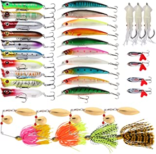Goture Fishing Lure Set Soft and Hard Lure Including Spinner Baits Minnow Frog Popper Spoon Jigs Jointed Swimbaits for Freshwater Saltwater