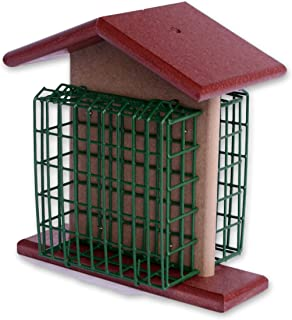 Amish-Made Double Suet Bird Feeder, Eco-Friendly Poly-Wood (Cherry Wood/Weathered Wood)