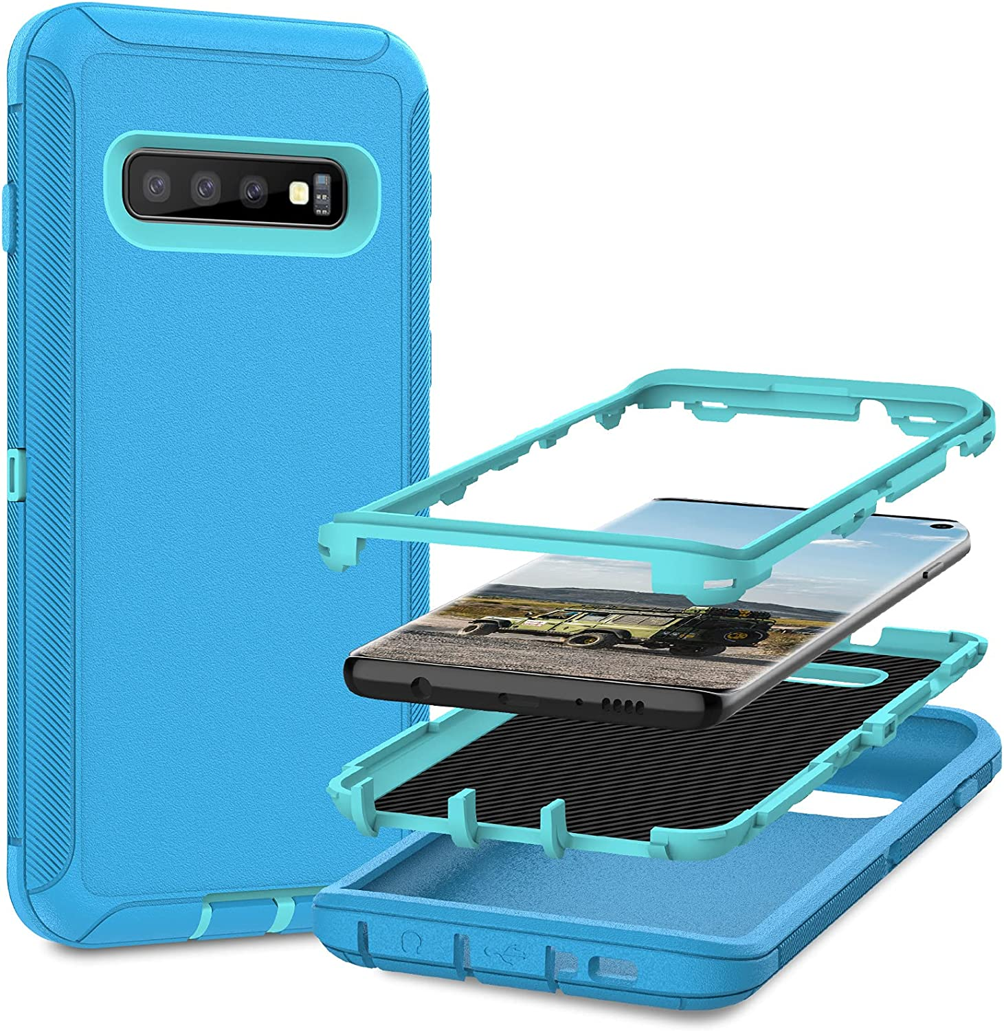 MMHUO for Samsung Galaxy S10 Case,Full Body Heavy Duty Protective Case for Samsung Galaxy S10 Case,3 in 1 Dust & Shock-Proof Phone Case for Samsung Galaxy S10 Hard Cover,Mint/Sea Green
