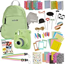 Instax Mini 9 Camera Travel Bundle - 60 Piece Accessory Kit with Shoulder Bag, 20 Sheets of Film, Lens Cleaning Cloth, Strap, Washi Tape, Stickers, Photo Frames + Album - Lime Green - by Outlook 2020