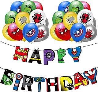 Qemsele Fiesta Cumpleaños Decoración, 1 Pancarta de Feliz cumpleaños y Globos de Dibujos Animados 20 Piezas para Niños Adultos Cumpleaños Fiesta Decoración Suministro Accesorio Fiesta temática