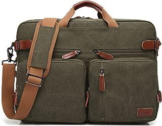 CoolBELL Convertible Backpack Messenger Bag Shoulder Bag Laptop Case Handbag Business Briefcase Multi-Functional Travel Rucksack Fits 17.3 Inch Laptop for Men/Women (Canvas Green)
