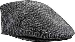 Pierre Cardin Men's Big and Tall Ivy Cap Tweed Herringbone Newsboy in Black and Beige