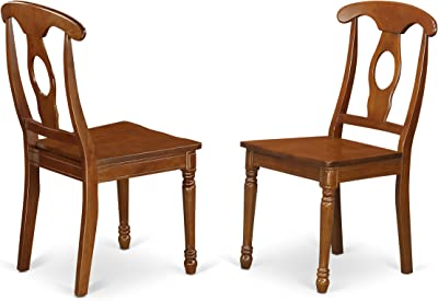 East West Furniture Napoleon-Styled dining chairs - Wooden Seat and Saddle Brown Hardwood Structure modern dining chair set of 2