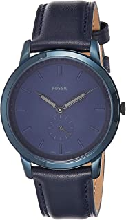 Fossil Minimalist Analog Blue Dial Blue Leather Watch for Men - FS5448