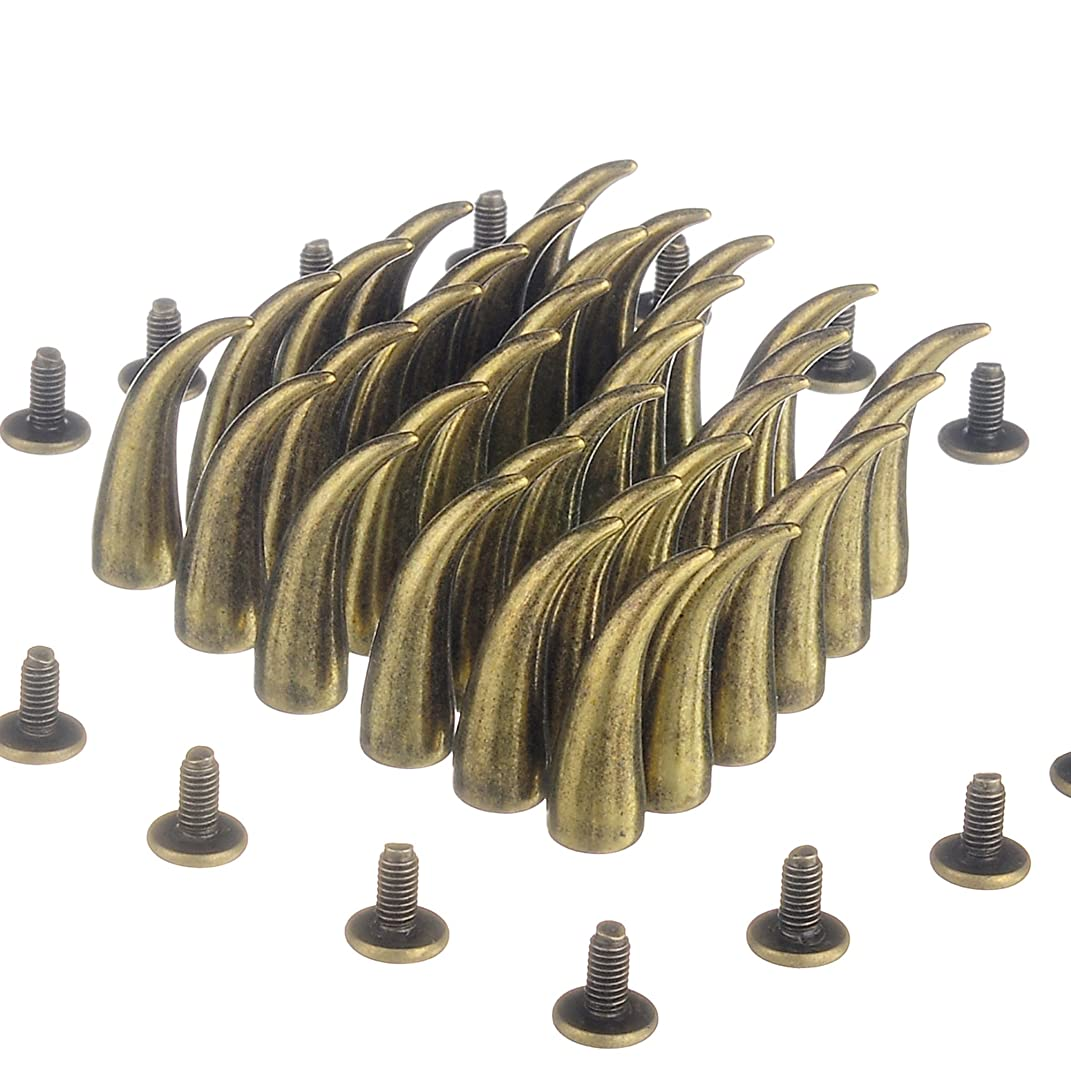 RUBYCA 20 sets 21mm Bronze Color Cat Claw Studs and Spikes Metal Screw Back Leather-craft Findings