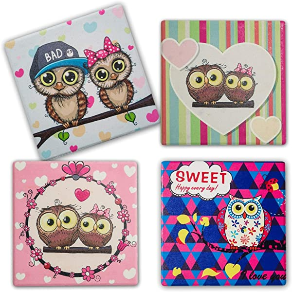 Coasterland Owl Design Coasters For Drinks Absorbent Stone Save Furniture From Drink Spills Large Durable Lovely Gift Set Of 4