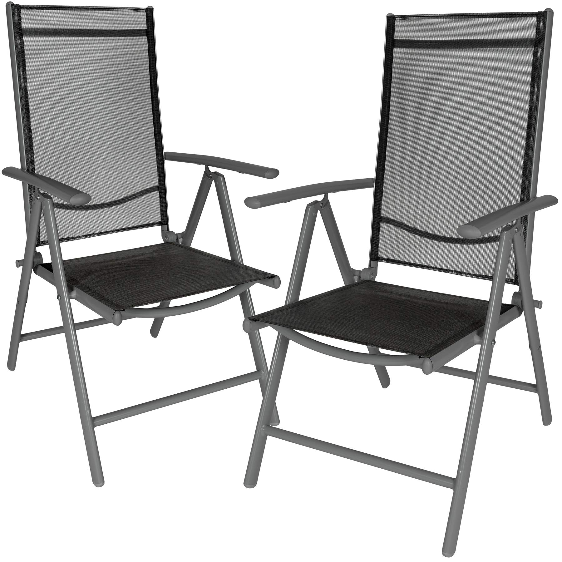 TecTake Aluminium folding garden chairs set adjustable with armrests